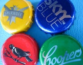 Aussie Party Drinks bottlecap fridge magnets in red, blue, yellow and green