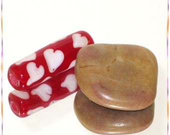 Valentines Day Lampwork Focal Tube Bead - SRA - Heart Me - 1474