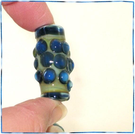 Handmade Lampwork Glass Bead in Blue and Mint - Focal Art Bead  - SRA - Silver Berries