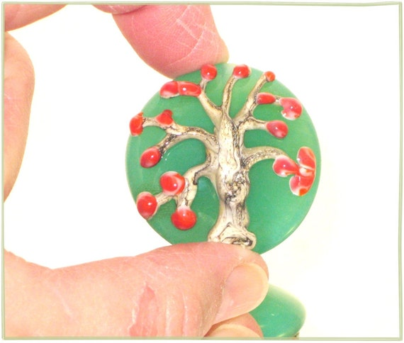 SALE - Handmade Glass Lampwork Bead in Mint Green and Silvered Ivory - Large Lentil Focal Art Bead - SRA - Cherry Tree