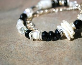 CLEARANCE CHAMPAGNE Onyx, Pearl, Glass, Sterling, and Goldfilled Bracelet