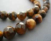 Tigereye Faceted 8mm Rounds 16 inches