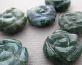 Moss Agate Carved Flowers full strand