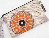 Nook Color Case / Kindle / Kindle Fire Cover / Paperwhite Padded eReader bag / WASHABLE Orange Flower Fabric