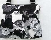 iPad Purse Kindle Handbag iPad Shoulder Bag Purse - Fast Shipping - Padded Electronics Pocket MEDIUM HOBO BAG Black and White Mosaic Fabric
