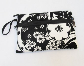 Kindle Fire Case / Nook Color Cover / Kindle Bag / Kindle cover / Kindle 4 Front Pocket - DELUXE eREADER ROO Black White Echo Fabric