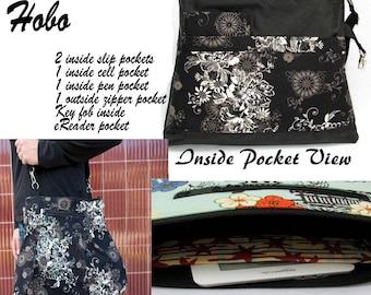 iPad Purse Kindle Handbag iPad Shoulder Bag Nook Purse Padded Electronics Pocket MEDIUM HOBO BAG / u Pick the Fabric