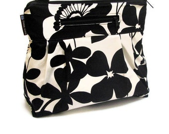 iPad Case Purse Kindle Handbag iPad Shoulder Bag Nook Purse Padded Electronics Pocket MEDIUM HOBO BAGElegant Black and White Fabric