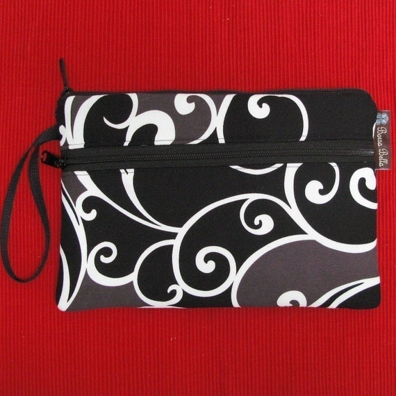 Kindle Nook Cover Sleeve with Front Pocket - Deluxe eREADER ROO - Large Wristlet - WASHABLE - by Borsa Bella - Black London Fabric
