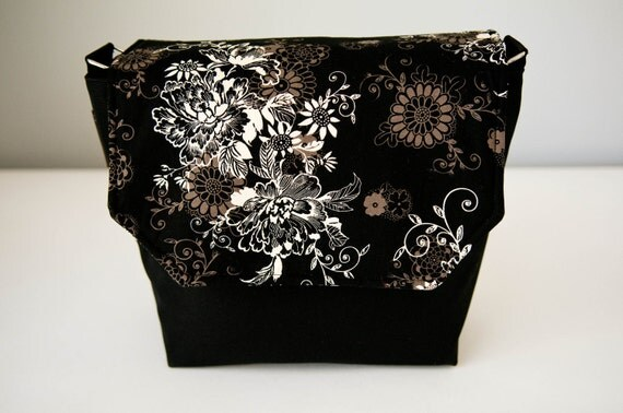 Digital SLR Camera Bag - DSLR Camera Bag Purse - Messenger Camera Bag - Interchangeable flaps Photo Bella Black Beauty Fabric- Fast Shipping