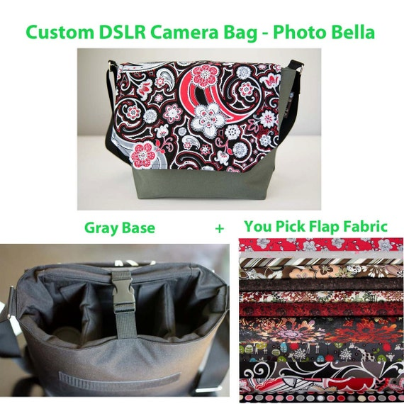 DSLR Camera Bag - CUSTOM - Digital SLR Bag Purse - Photo Bella You pick the Flap Color with - Fast Shipping -