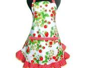 Strawberry Apron, Full Hostess Retro Style with Ruffle