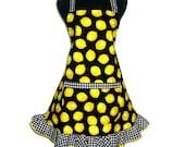 Retro Kitchen Apron,  Yellow Lemons / Black and White Checks, Hostess Style with Ruffle