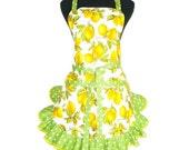 Lemon Apron, Retro Kitchen Style,  White with Green Ruffle, LAST ONE