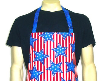Professional Style Chef Apron , American Flag / Stars and Stripes , Adjustable with pocket , Red White and Blue