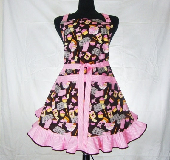 Cupcake Apron with Retro Style Ruffle - Full - Adjustable with Pocket