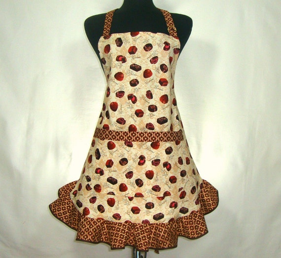 Chocolate Candies - Full Apron with Flounce and Pocket