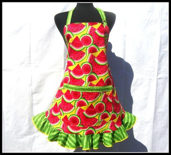 Watermelon Apron - Full Apron with Retro Style Flounce Ruffle