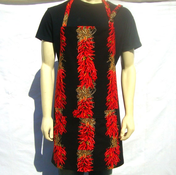 Mens Chef Apron,  Red Chili Peppers, Full Adjustable Apron with Pocket