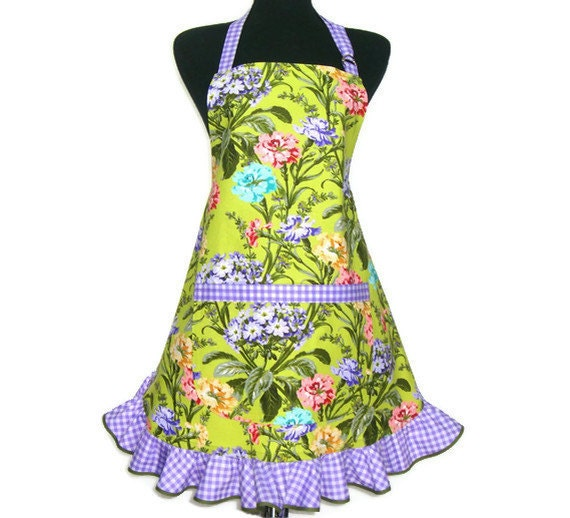 Carnations Kitchen Apron Green with Purple Gingham , Retro Hostess Style with Ruffle