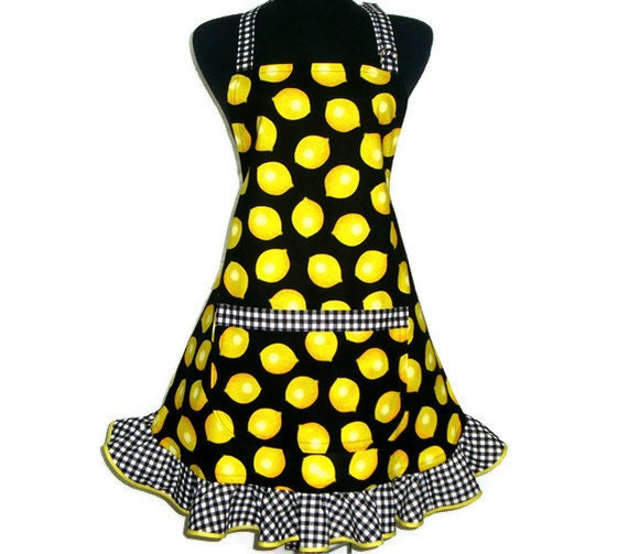 Retro Kitchen Apron,  Yellow Lemons / Black and White Checks, Hostess Style with Ruffle