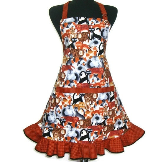 Retro Kitchen Apron, Flounce Cats, Hostess Style Ruffle