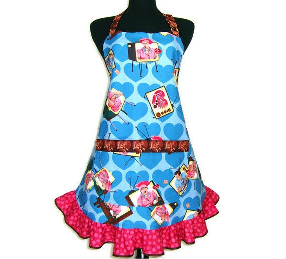 I Love Lucy Retro Kitchen Apron Lucille Ball Blue Hearts