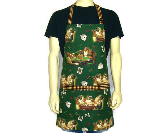 Dogs Playing Poker, Kitchen Apron, Full  BBQ Chef Style, Adjustable