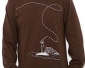 Long Sleeve T-Shirt - Fly Fishing - Available Men's Sizes: Medium or X-Large - Brown
