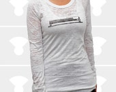 Drop the Needle - Women's Burnout Long Sleeve Shirt - Available Sizes: Small, Medium, Large, X-Large