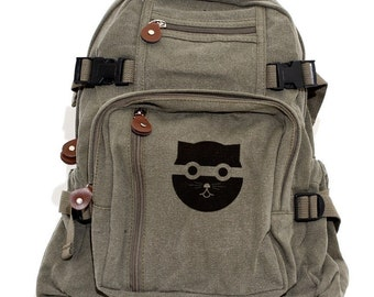 Backpack: Bandit Watson the Cat (Women & Men) Canvas Backpack, Cute Women's Backpack, Satchel, Rucksack, Bag