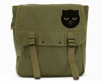Kawaii Canvas Backpack, Sleepy Watson the Cat Backpack, Rucksack, Cute Diaper Bag Backpack, Green, Gift for Cat Lover, Women's Backpack