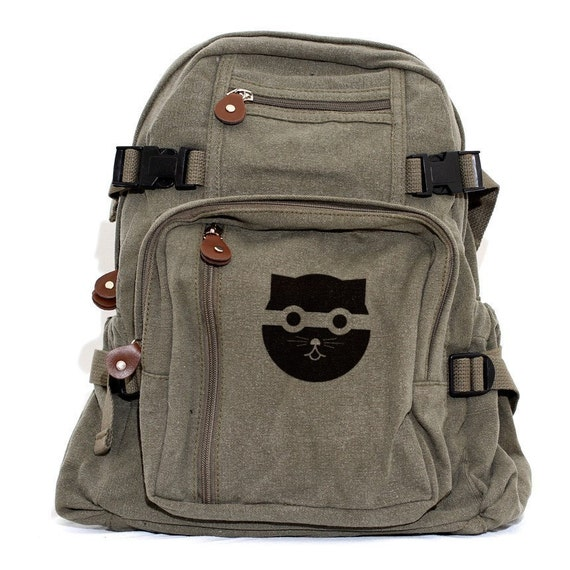 Backpack: Bandit Watson the Cat (Women & Men) Canvas Backpack, Cute Women's Backpack, Satchel, Rucksack, Bag