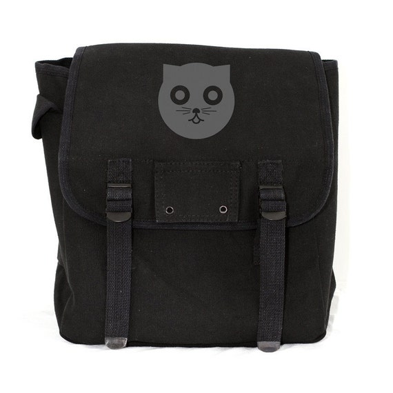 Kawaii Gifts Backpack, Watson the Cat Backpack, Rucksack, Cute Diaper Bag Backpack, Black, Gift for Cat Lover, Gift for Women, Gift for Mom
