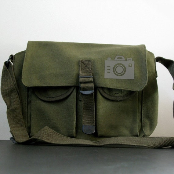 Gray Iconic Camera Dual Pocket Small Army Green Bag