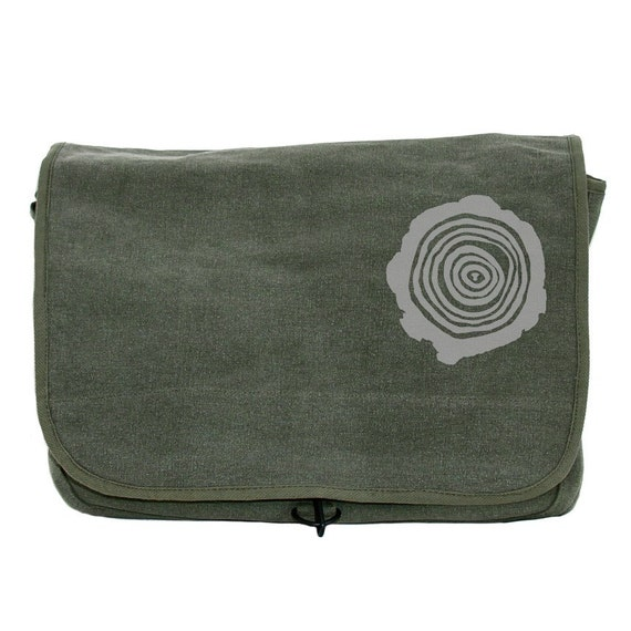 DISCOUNTED - Messenger Bag - Tree Rings - Lightweight Canvas