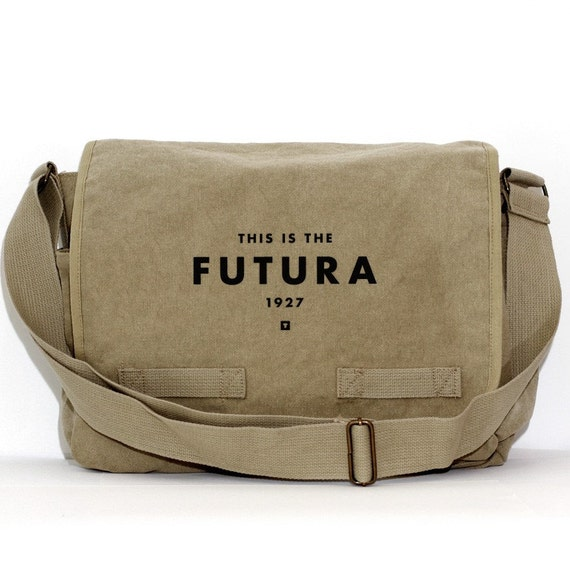 Messenger Bag Futura Typography Crossbody Large Canvas Bag