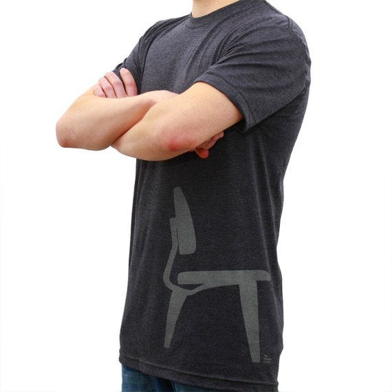 Mens T-Shirt - Plywood Chair Side - Black Heather - Available Sizes: Small, Medium, Large, or X-Large