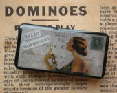 CLEARANCE - HALF PRICE - Hello Gorgeous - Altered Domino Pendant Keychain Pin Brooch - Fun and Funky Recycled Goodness