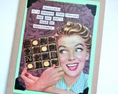 SALE - For the LADIES Fun Vintage Photo Card - Chocolate Therapy - Recycled Paper