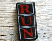 CLEARANCE - HALF PRICE - Run - Altered Domino Pendant Keychain Pin Brooch - Fun and Funky Recycled Goodness