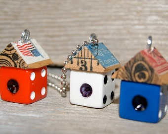 Funky Little Red White and Blue Dice Birdhouse House Necklace Charm Pendant Keychain - Patriotic - Art By Heather - Ready To Ship