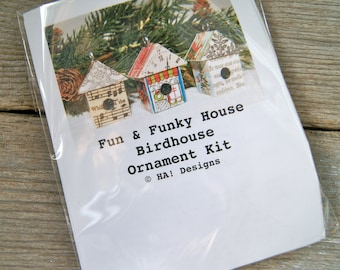 House Birdhouse Christmas Ornament Pendant Kit - Fun & Funky EVERYTHING You Need to Do It Yourself DIY - Art By Heather