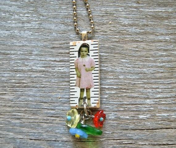 Vintage Altered Ruler Pendant - Lollipop Girl