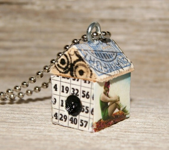 SALE - Funky Little BirdHouse House Necklace Charm Pendant Necklace Keychain - Bathing Beauty - Art By Heather - Ready To Ship