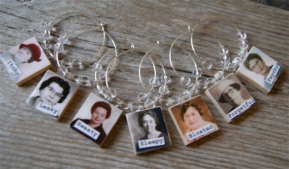 The 7 Gals of Menopause Wine Charms - Wrinkle - Set of 7