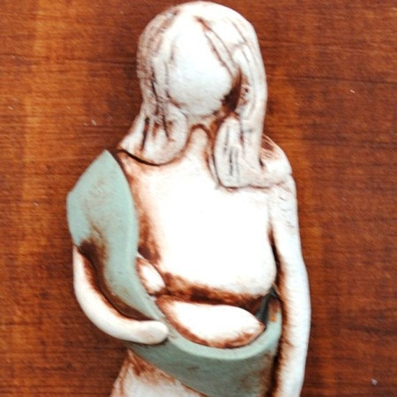 Mother and Newborn Baby Sculpted Plaque Babywearing Attachment Parenting Breastfeading Art