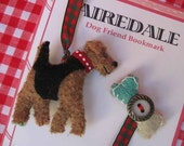 Airedale Terrier Dog Friend Bookmark - Vintage Wool JANUARY DELIVERY