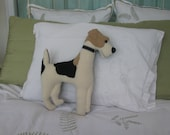 RESERVED for SHARON Wire Fox Terrier Pillow, Vintage Wool, 16 inch