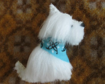 West Highland Terrier Westie Dog Brooch / Faux Fur Pin with Gift Box